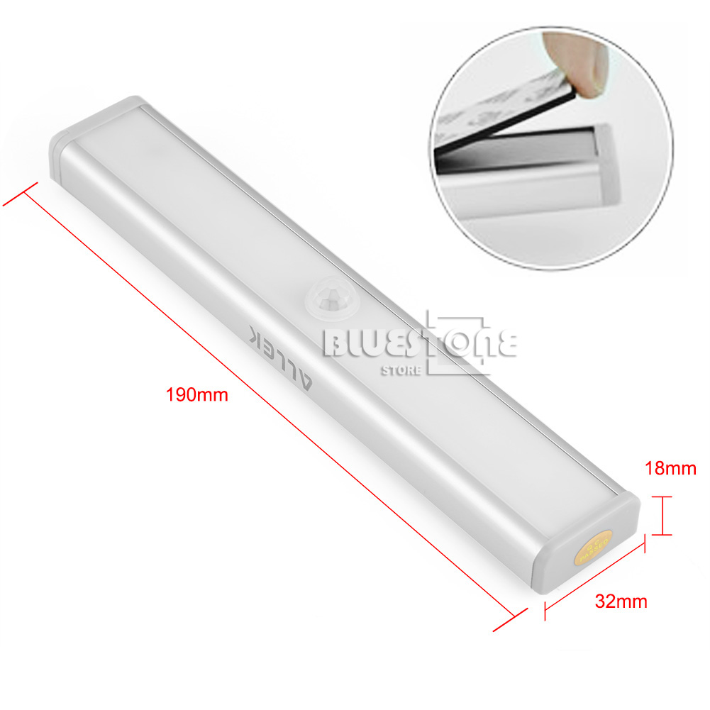 wireless pir motion sensor 10 led strip lights cabinet closet wardrobe lamp ebay. Black Bedroom Furniture Sets. Home Design Ideas