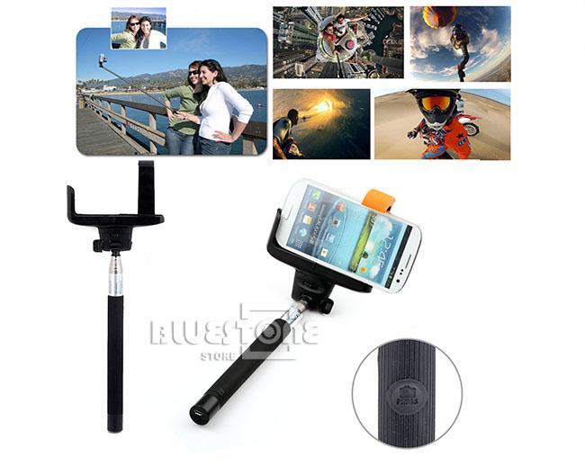 telescopic monopod selfie stick bluetooth wireless remote mobile phone holder ebay. Black Bedroom Furniture Sets. Home Design Ideas