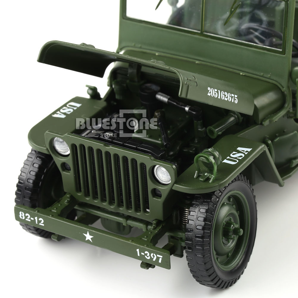 1 35 Scale Jeep Car Military Us Army Force Vehicle Well