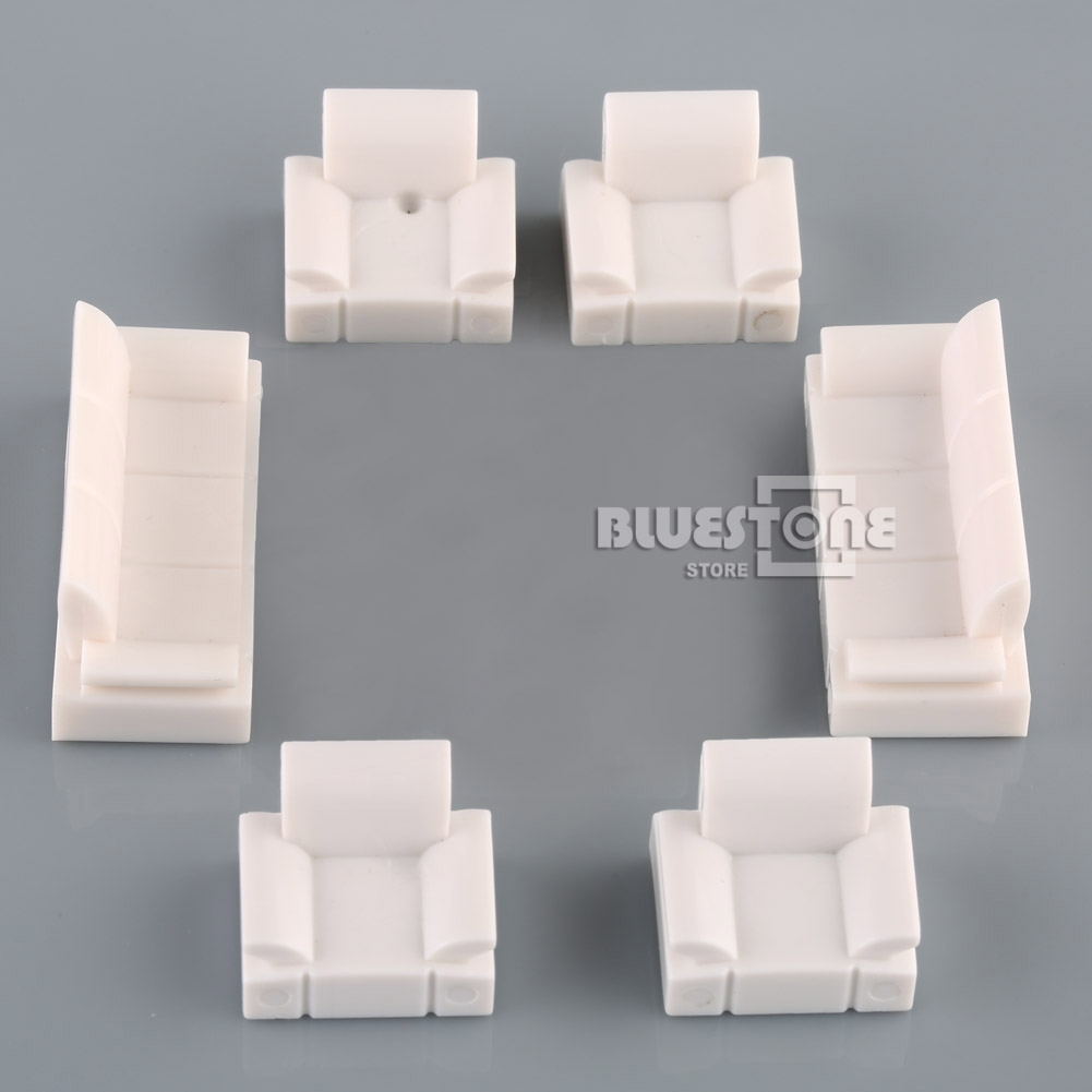 White plastic sofa set model 1 50 o scale dolls house Scale model furniture