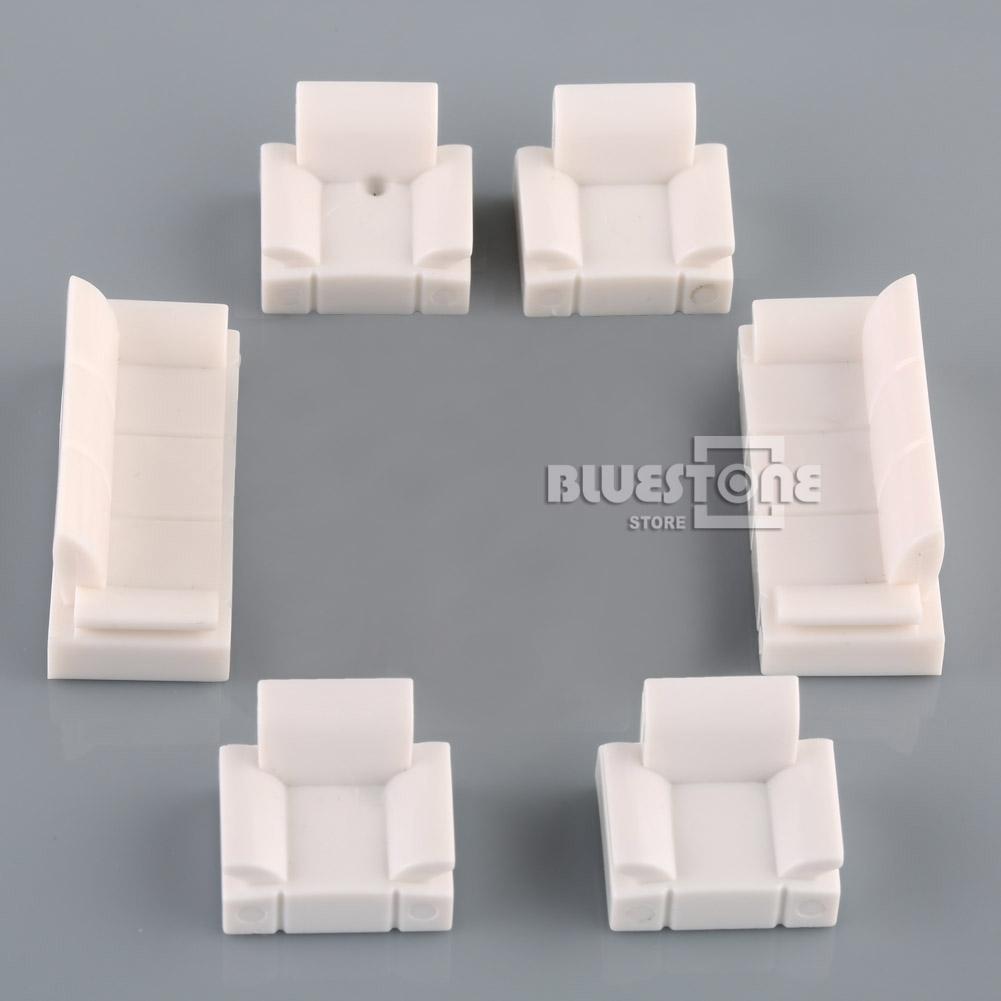 White plastic sofa set model 1 50 o scale dolls house for Scale model furniture