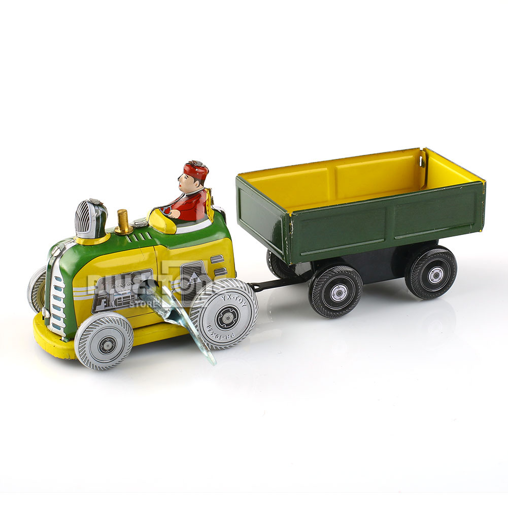 Tractor Trailer Keys : Vintage tractor and trailer collectible tin toy with wind