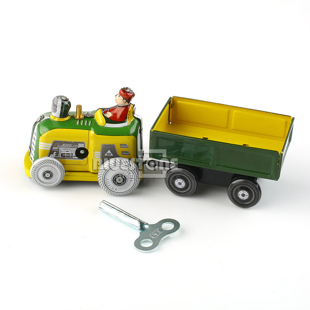 Old Tractor Keys : Vintage tractor and trailer collectible tin toy with wind