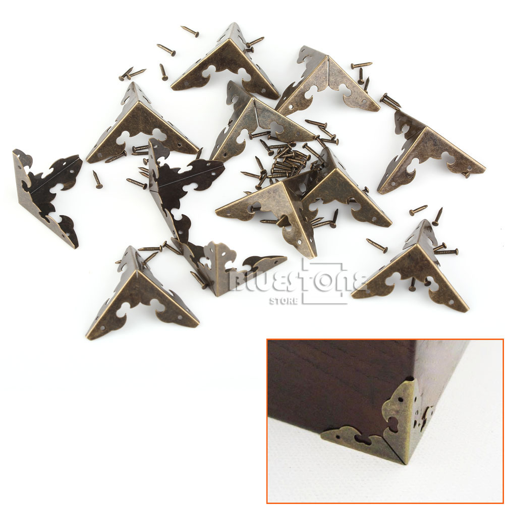 12x Antique Corner Protector w/Nails For Wooden Jewelry Box Gift Wine Case Decor