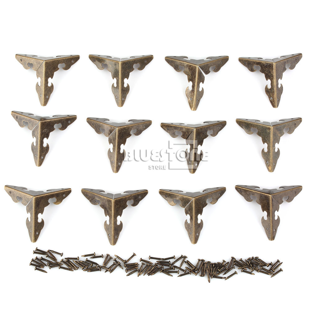 12x Antique Corner Protector w/Nails For Wooden Jewelry Box Gift Wine Case Decor 7