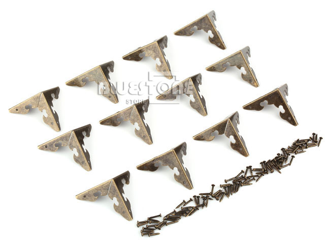 12x Antique Corner Protector w/Nails For Wooden Jewelry Box Gift Wine Case Decor 2