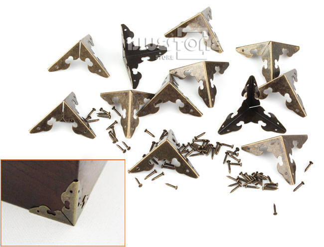 12x Antique Corner Protector w/Nails For Wooden Jewelry Box Gift Wine Case Decor 3