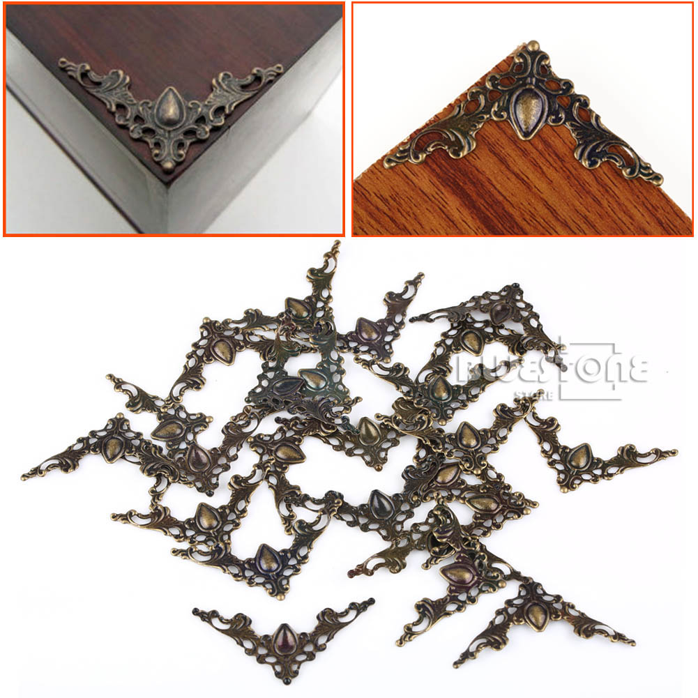 24pc Decorative Corner Protector Bronze Tone For Jewelry Box Gift Wine Case 41mm