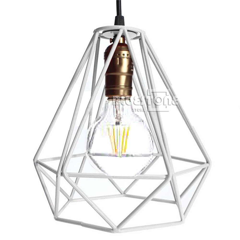 industrial metal frame ceiling pendant hanging light bulb