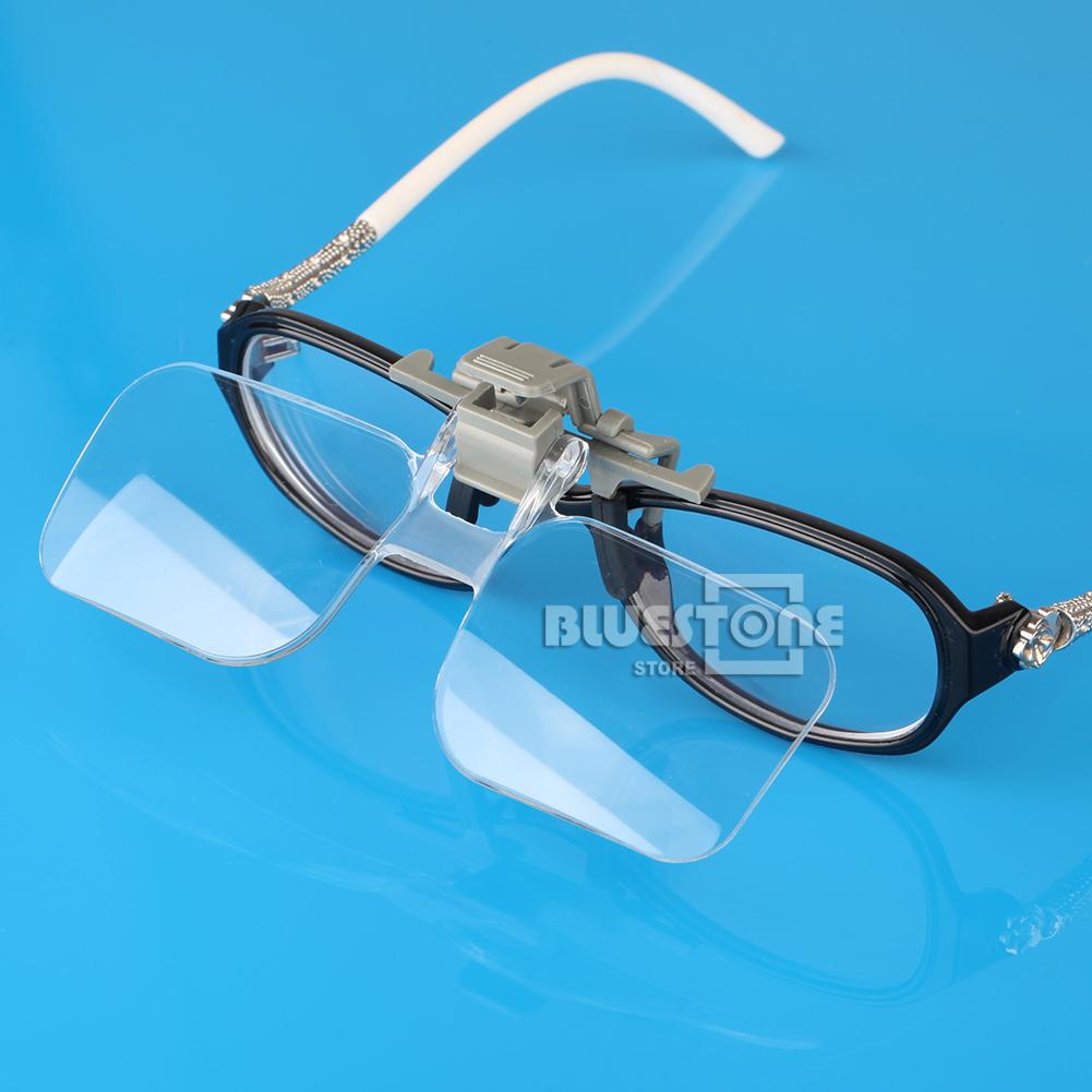 loupe eyeglass hd lens folding 2x magnifying glasses clip