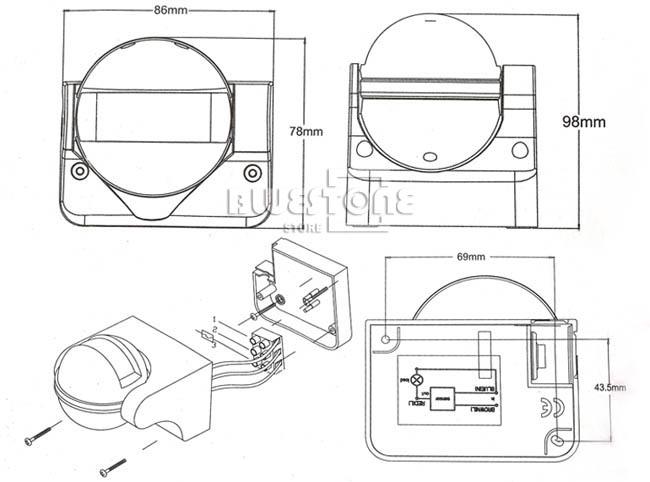 180 u00b0 degree outdoor security pir motion movement sensor