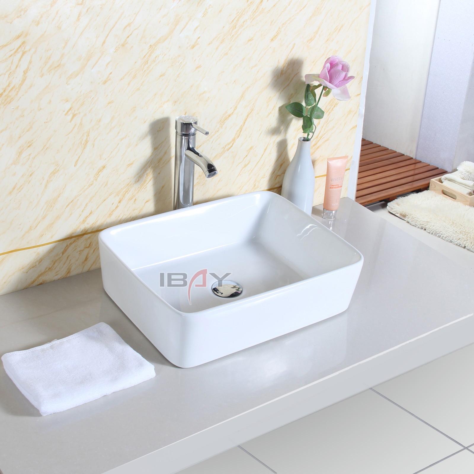 Basin Sink Countertop Square Bathroom Ceramic Wash Bowl