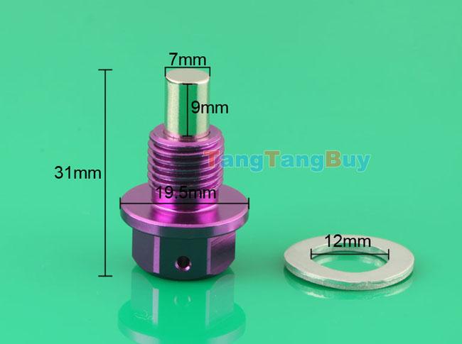 Kia Rio Attract >> Purple Anodized Engine Magnetic Oil Pan Drain Plug Blot Crush Washer M12 x 1.25