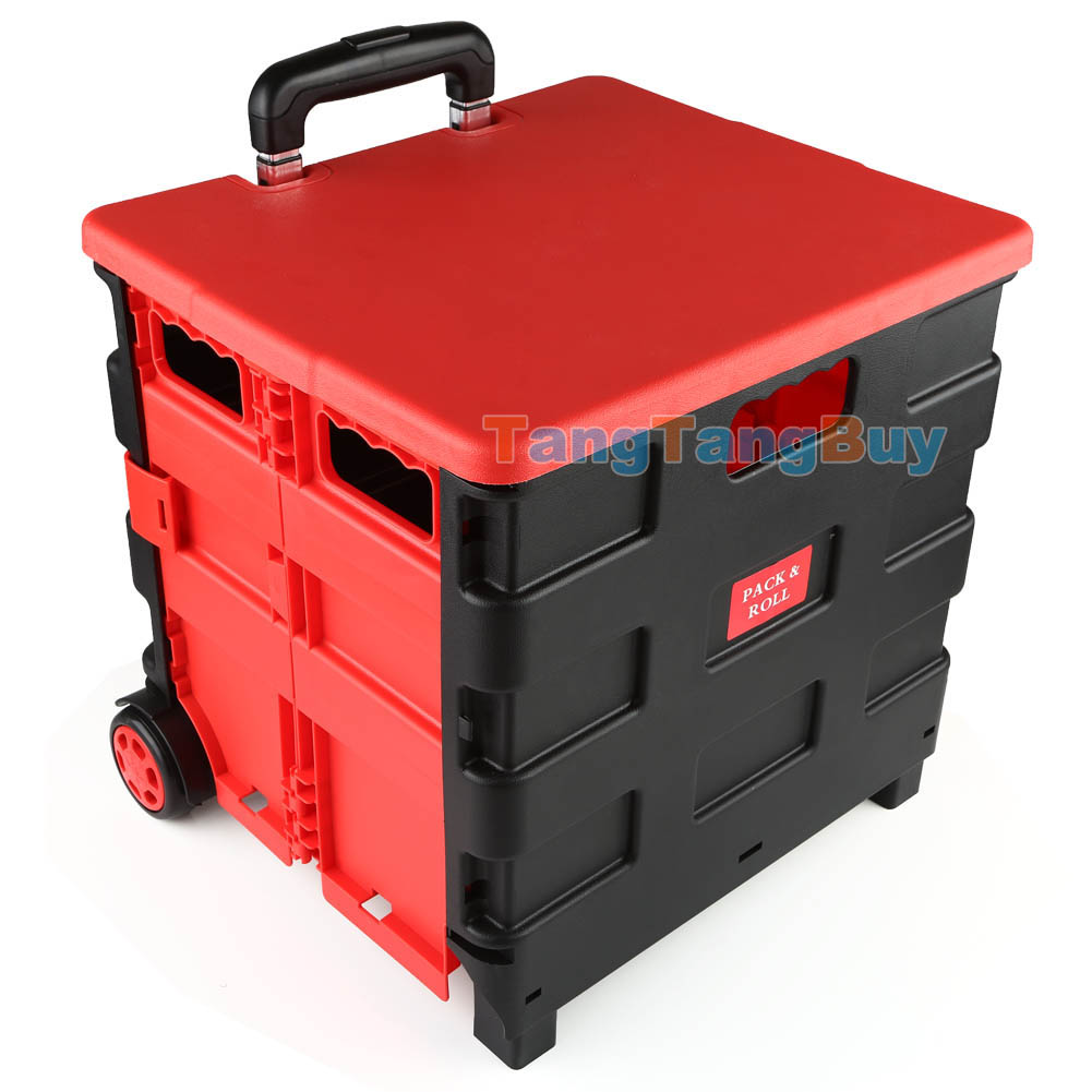folding boot cart shopping trolley fold up storage box wheels crate foldable ebay. Black Bedroom Furniture Sets. Home Design Ideas