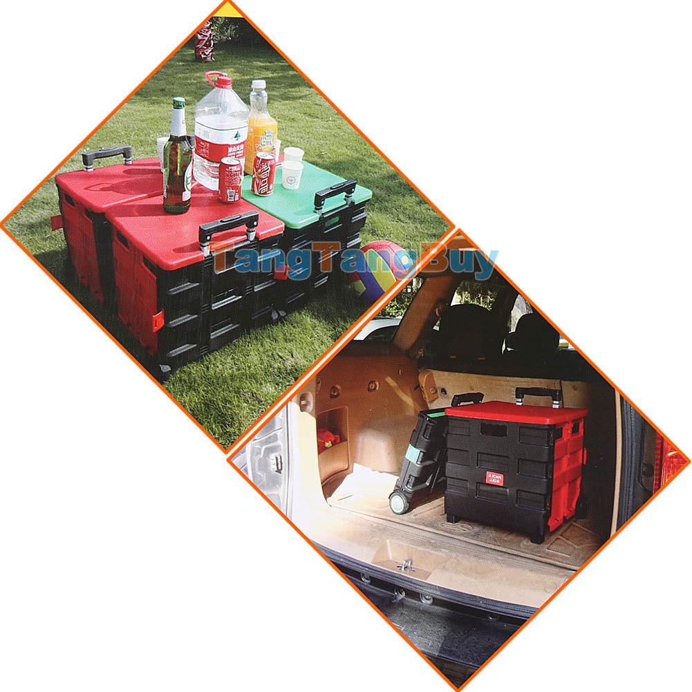 Folding Boot Cart Shopping Trolley Fold Up Storage Box