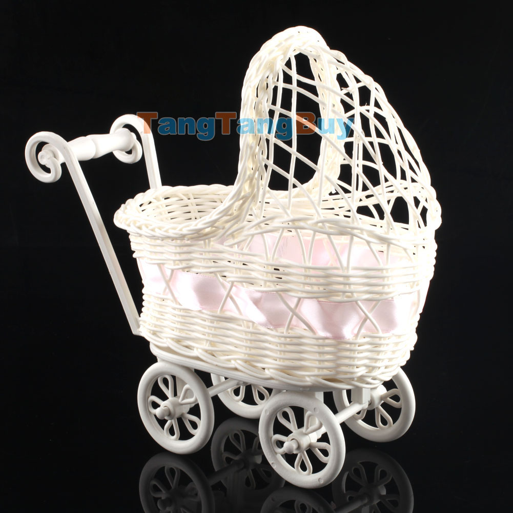 Baby shower party decoration boy girl pink wicker baby for Baby carriage decoration