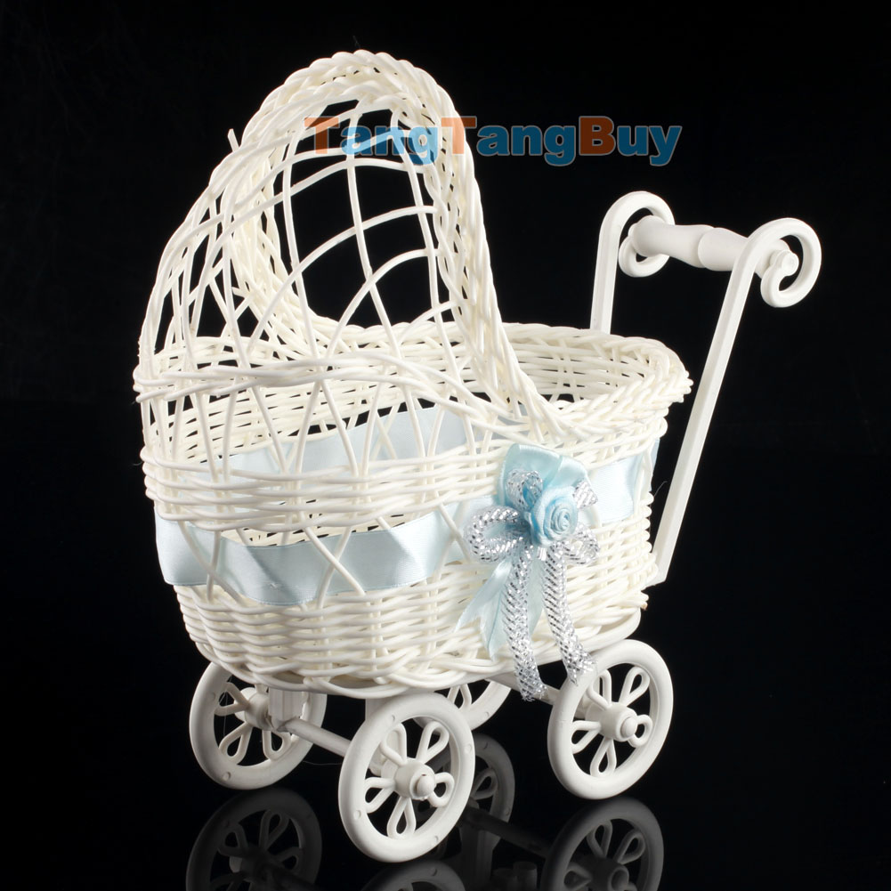 Baby shower party decoration boy girl pink wicker