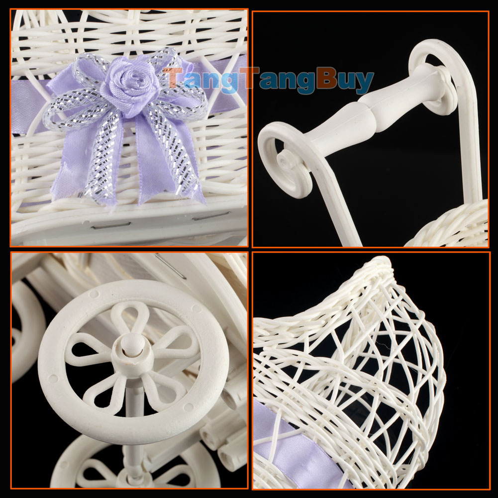 Wicker baby carriage shower centerpiece stroller