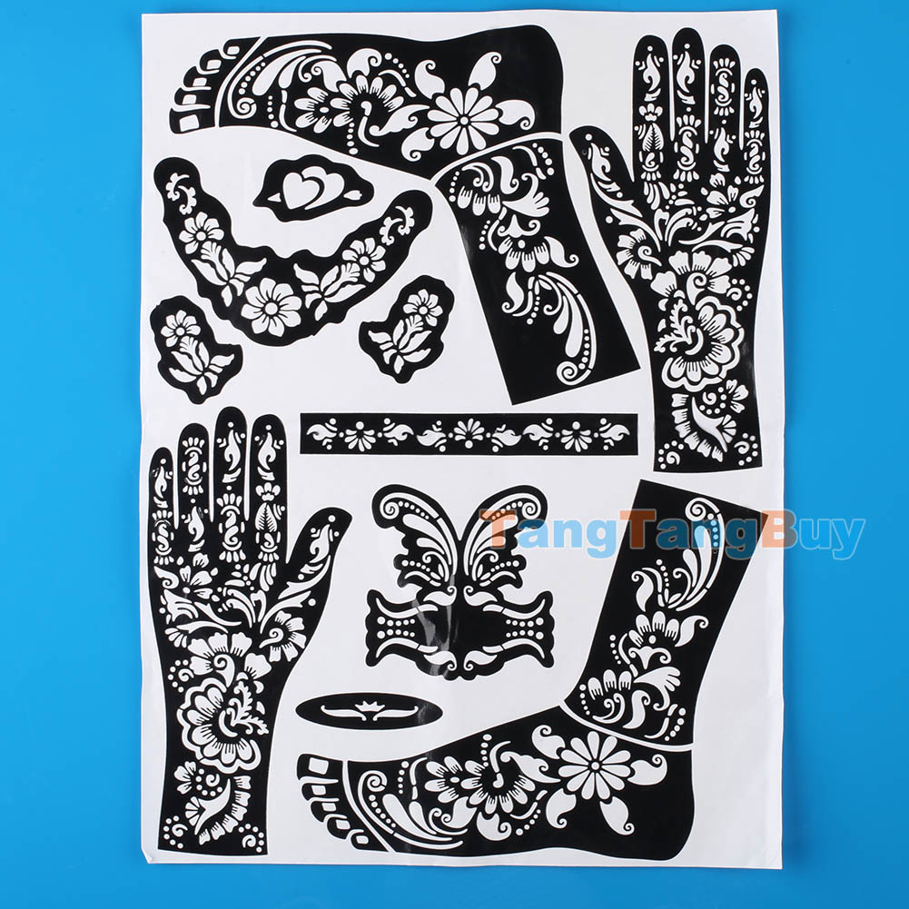 Hot sell henna temporary tattoo template self adhesive for Henna temporary tattoo stencils